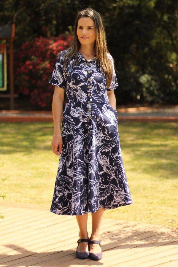 Vestido midi godê azul folhagem
