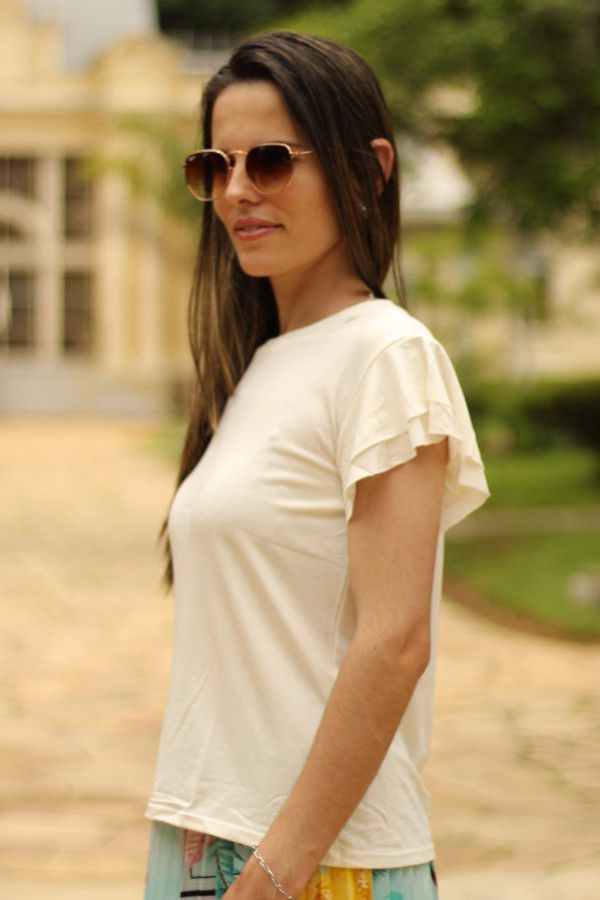 Blusa manga curta off-white