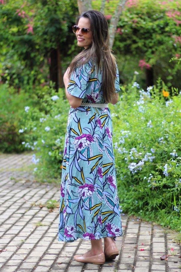 Vestido longuete godê verde floral