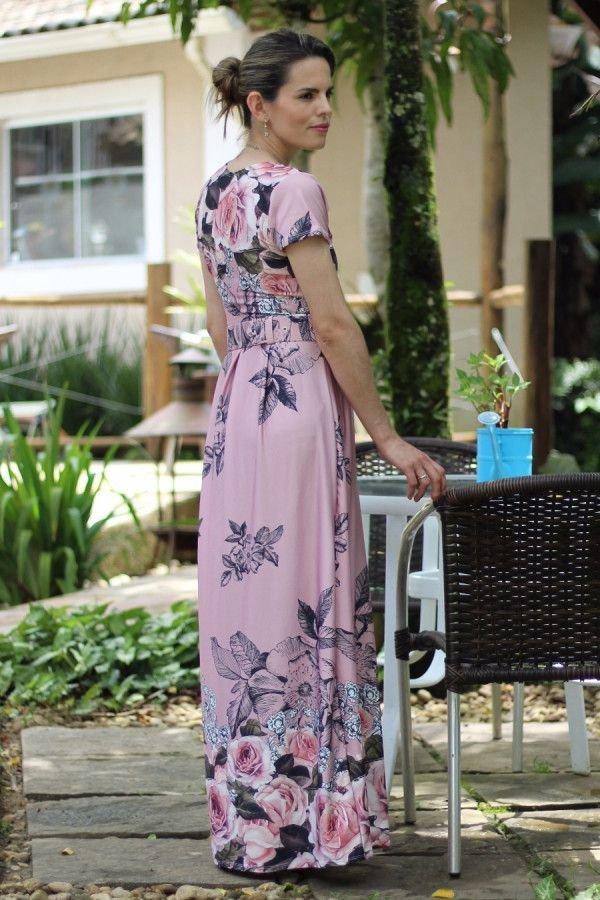 Vestido longo de pregas rosê floral