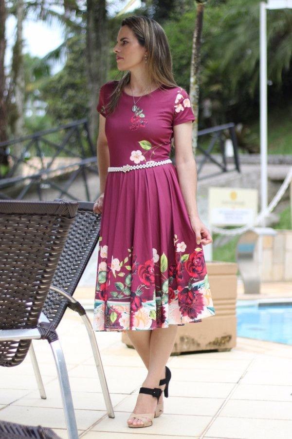 Vestido midi godê vinho floral