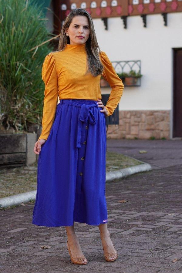Saia longuete evasê azul royal com bolso