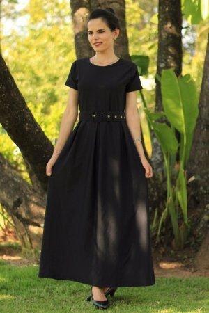 Vestido longo de pregas preto