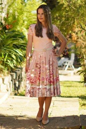 Vestido midi godê rosa floral